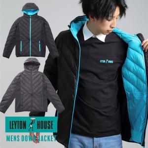 レイトンハウス ダウンジャケット パーカー メンズ 男性 紳士 LEYTON HOUSE 防寒 黒 レイトンブルー 軽い カジュアル sansei-s-style