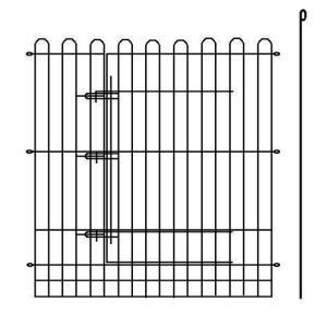 スチールメッシュ 単面サークル L型 黒[扉付き] 90×110cmH|sansei