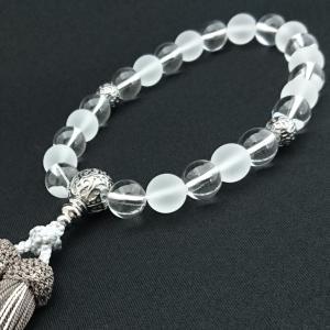 【 数珠 】 略式 男性用 水晶 水晶艶消 シルバー彫金仕立 正絹房 桐箱入|sanshido-honten