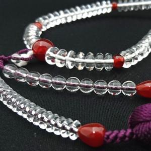 【 数珠 】 天台宗 女性用 天然水晶 赤瑪瑙 正絹房 桐箱入|sanshido-honten|04