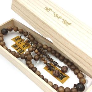 【 数珠 】 浄土宗 男性用 神代杉 茶水晶仕立て 桐箱入 【 10%OFF商品 】|sanshido-honten