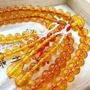 【 数珠 】 真言宗 男性用 本琥珀共仕立て みかん玉 尺二 桐箱入|sanshido-honten|03