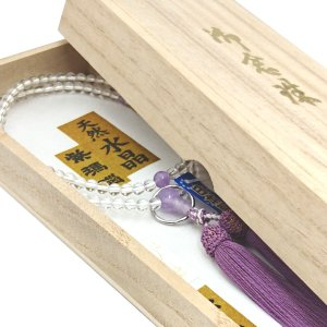 【 数珠 】 曹洞宗 女性用 天然水晶 紫瑪瑙仕立て 桐箱入 【 10%OFF商品 】|sanshido-honten