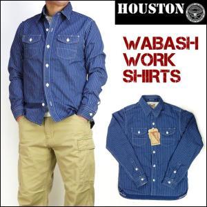 HOUSTON ヒューストン メンズ シャツ ウォバッシュストライプ 長袖ワークシャツ ミリタリー 日本製 40141 送料無料|sanshin