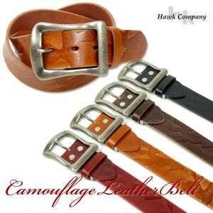 HAWK COMPANY ホークカンパニー カモフラージュ型押し レザーベルト メンズ レディース ユニセックス 338|sanshin