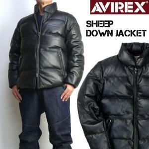 AVIREX アビレックス レザー ダウンジャケット メンズ  SHEEP DOWN JACKET 革ジャン ミリタリージャケット 6181057|sanshin
