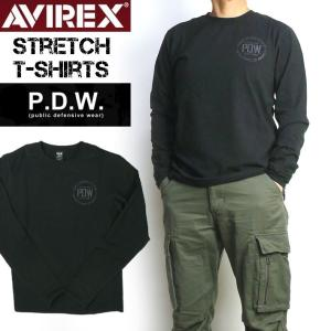 AVIREX アビレックス PDW STRETCH CREW T-SHIRT ストレッチ クルーネック Tシャツ 長袖Tシャツ 6673015|sanshin
