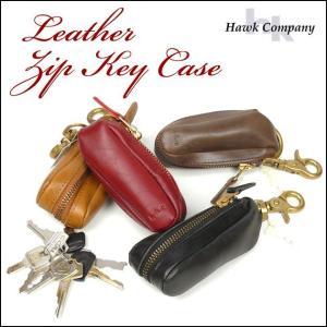 Hawk Company ホークカンパニー レザー ジップキーケース キーホルダー 6247|sanshin
