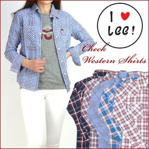 Lee リー Lady's チェックウエスタンシャツ LT0963|sanshin