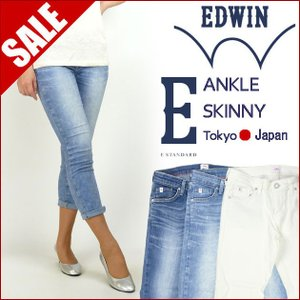 MISS EDWIN エドウィン E STANDARD アンクルスキニー MX466A ホワイトデニム|sanshin