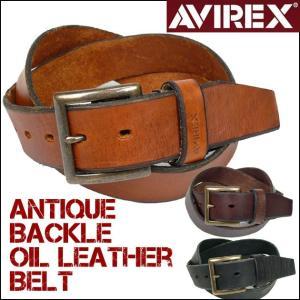 AVIREX アビレックス アンティークバックル オイルレザーベルト AX4111 g-bt|sanshin