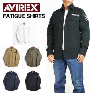 AVIREX アビレックス ファティーグ カーキシャツ FATIGUE KHAKI SHIRTS ミリタリー 長袖シャツ メンズ 6175140|sanshin
