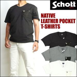 ショット Schott メンズ 半袖VネックTシャツ ディアレザーポケット コンチョ 3173011 送料無料|sanshin