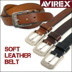 AVIREX アビレックス ベルト メンズ ソフトレザーベルト AX3008 長さ調節可|sanshin