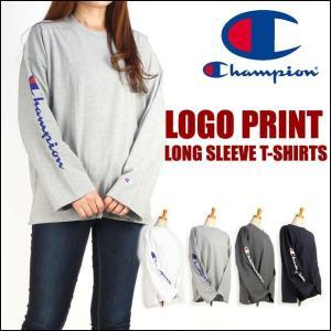 Champion チャンピオン レディース Tシャツ ロゴプリント オフショルダー 長袖Tシャツ C3-L415|sanshin