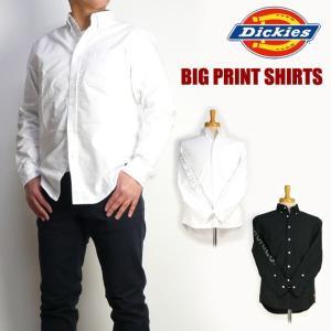 DICKIES ディッキーズ メンズ シャツ ロゴプリント 長袖ボタンダウンシャツ 173M20EC03 送料無料|sanshin