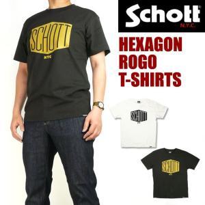 セール Schott ショット メンズ Tシャツ 半袖プリントTシャツ HEXAGON 3183048|sanshin