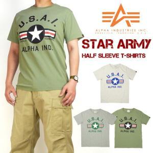 セール ALPHA アルファ メンズ Tシャツ 半袖ミリタリーTシャツ STAR ARMY TC1255|sanshin