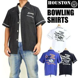 HOUSTON ヒューストン メンズ ボーリングシャツ BOWLING SHIRTS RECORD 半袖シャツ 送料無料 40380|sanshin