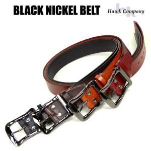 HAWK COMPANY ホークカンパニー ベルト ブラックニッケルバックル レザーベルト メンズ レディース 337|sanshin