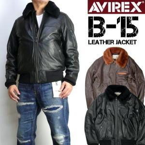 AVIREX アビレックス B-15 レザージャケット メンズ シープレザー B-15 フライトジャケット ミリタリージャケット 6181050|sanshin