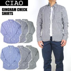 ciao チャオ ギンガムチェック ボタンダウンシャツ メンズ 長袖シャツ 日本製 28-902|sanshin