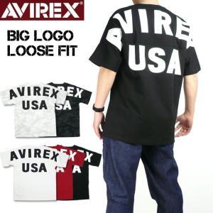 AVIREX アビレックス ビッグロゴ ルーズフィット Tシャツ BIG LOGO 半袖Tシャツ ミリタリーTシャツ メンズ 6183546|sanshin