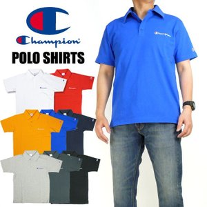 Champion チャンピオン メンズ ポロシャツ ロゴ刺繍 半袖ポロシャツ ワンポイント 無地 C3-P306|sanshin