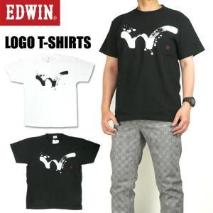 EDWIN エドウィン メンズ Tシャツ ロゴプリント 半袖Tシャツ 毛筆ロゴ Wステッチ ET5711-3xx|sanshin