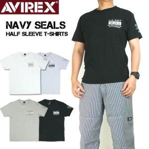 AVIREX アビレックス 半袖Tシャツ ネイビーシールズ シンプルT-シャツ  NAVY SEALS ミリタリーTシャツ メンズ 6193324|sanshin