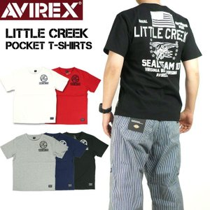 AVIREX アビレックス 半袖Tシャツ クルーネック ポケット T-シャツ リトル クリーク ミリタリーTシャツ メンズ 6193342|sanshin