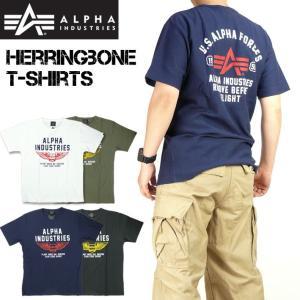 ALPHA アルファ ヘリンボーン プリントTシャツ 半袖Tシャツ ミリタリー TC1352|sanshin