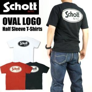 Schott ショット 半袖Tシャツ OVAL LOGO オーバルロゴプリント Tシャツ メンズ 3193084|sanshin