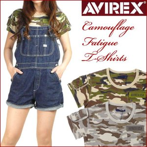 AVIREX アビレックス レディース Tシャツ カモフラージュ ファティーグTシャツ 半袖ミリタリーTシャツ 6243151 送料無料|sanshin