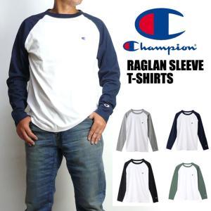 Champion チャンピオン メンズ Tシャツ ラグラン 長袖Tシャツ 無地 ワンポイント C3-P402|sanshin