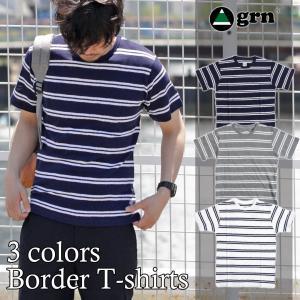Tシャツ 半袖 メンズ ボーダー パイル 2018 冬 新春|sansuiya