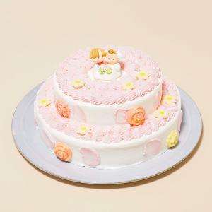 送料無料:2段苺のデコレーション5号×7号:ホワイトデーやひな祭り、入園入学のお祝いケーキ
