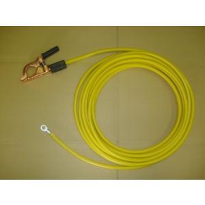 ゴムカバー付黄色アースクリップ線・端子付 10M / WCT22