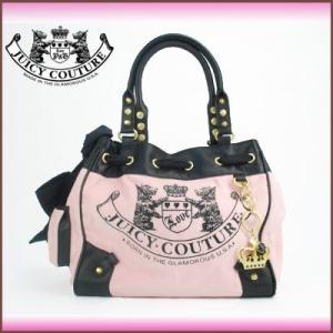 ジューシークチュール Juicy Couture トートバッグ リボンつき ベルベット風キャンバス(ピンク)|santekjp