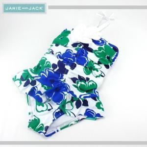 JANIE AND JACK/ジェニーアンドジャック スイムウェア 水着 お花付きフラワープリント キッズ ガールズ 女の子(ブルー×グリーン)|santekjp