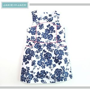 JANIE AND JACK/ジェニーアンドジャック フラワープリントラインアクセントワンピース 女の子(ホワイト×ブルー×蛍光オレンジ)|santekjp