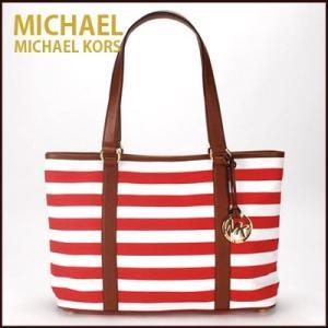 マイケルコース/MICHAEL KORS トートバッグ  EW Large Summer Stripe Tote ボーダー(レッド×ホワイト)35S4GSUT3R|santekjp