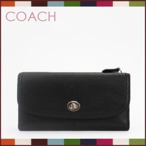 コーチCOACH 財布 レザー フロントターンロック 小切手ケース付き 長財布(ブラック)F49164SVBK|santekjp