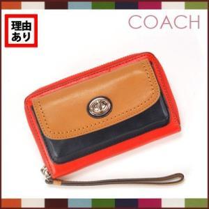 コーチCOACH 財布  レザー ラウンドジップ フロントポケット ブロックカラー 二つ折り(オレンジ系)F49486SVVRM ※訳あり|santekjp