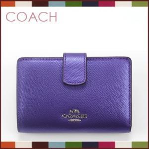 コーチ coach クロスグレーン レザー ミディアム コーナー ジップ ウォレット 二つ折り財布(メタリック パープル アイリス)f53436svegj|santekjp