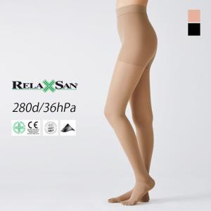 弾性ストッキング 280デニール 下肢静脈瘤 着圧ストッキング (リラクサン 足のむくみ むくみ 足)|santelabo