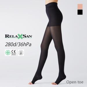 弾性ストッキング オープントゥ 280デニール 2足セット 下肢静脈瘤 サポートストッキング 足のむくみ リラクサン|santelabo