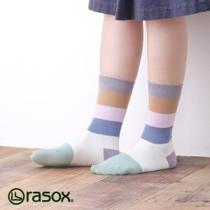 ラソックス キャトルボーダー クルー rasox (ラソックス レディース キャトルボーダー クルー rasox ソックス 靴下 コットン ボーダー L字 CA141CR11)|santelabo
