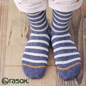 ラソックス コットンボーダー クルー rasox (ラソックス レディース コットンボーダー クルー rasox ソックス 靴下 ボーダー コットン L字 CA130CR01)|santelabo
