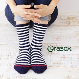 ラソックス ソフトタッチボーダー rasox (ラソックス レディース クルー rasox ソックス 靴下 L字  CA132CR01)|santelabo
